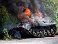 В Запорожской области неожиданно загорелся танк