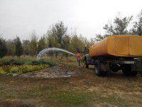 Видео дня: Заботливые коммунальщики поливают клумбы в дождь
