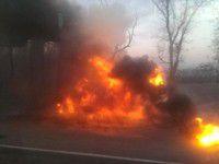На запорожской трассе загорелся грузовик