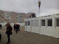 В Запорожье, несмотря на дождь, строят дома для беженцев (Фото)
