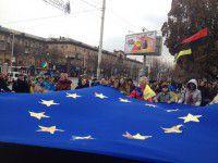 В Запорожье под песню «Все буде добре» развернули огромный флаг Европы