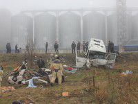Фото с места аварии донецкой маршрутки под Запорожьем