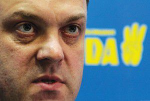 Oleg Tyagnibok, head of the All-Ukrainian Union Svoboda (Freedom) party, speaks during a news conference in Kiev