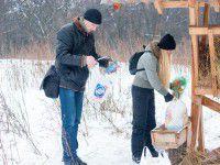 Запорожцы покормили на Хортице диких оленей (Фото)