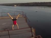 Запорожский спортсмен устроил экстремальное шоу на недостроенных мостах (Видео)