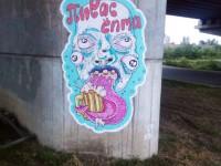 На недостроенных запорожских мостах появились необычные граффити (Фото)