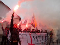 В Запорожье «азовцы» вышли на митинг против «Интера» с дымовыми шашками (ФОТО)