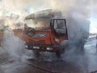 В Запорожской области едва не взорвался горящий грузовик (Фото)