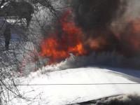 Появилось видео сгоревшего магазина в Запорожской области