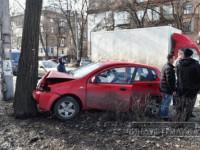 В Запорожье легковушка от сильного удара влетела в дерево (фото)