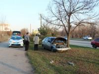 На запорожской Набережной «Жигули» врезались в дерево на газоне (Фото)