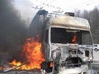 На запорожской трассе сгорел грузовик
