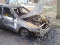 В Запорожье сгорела иномарка (Фото)