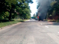 В Заводском районе из-за неисправности сгорел грузовик (Видео)
