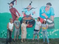 На выезде из Запорожья здание заброшенного поста ГАИ украсили казаками (Фото)