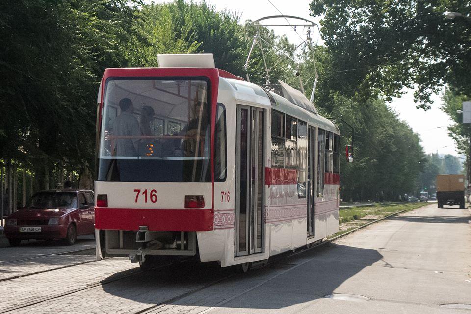ВЗапорожье вышел намаршрут 1-ый трамвай, собранный вЗапорожье,