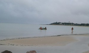 На запорожском курорте компания заехала на легковушке в море (Фото)