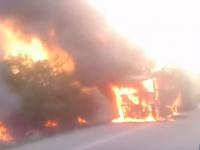 Под Запорожьем заживо сгорел водитель грузовика (Видео)