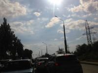 На мосту Преображенского из-за тройной аварии образовалась пробка