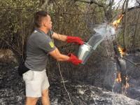 Активисты тушили пожар на Хортице ведрами с водой