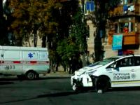 В центре Запорожья полицейский «Приус» попал в аварию – есть пострадавшие