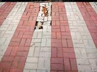 В Токмаке начал разрушаться новый тротуар (Фото)
