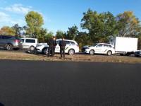 На выезде из Запорожья в аварию попали несколько новых полицейских машин – очевидцы