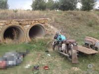 Мотоциклист из Запорожской области разбился, слетев в кювет