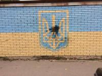 На авторынке камера зафиксировала вандала, облившего краской сине-желтый герб
