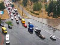 В Запорожье на плотине ДнепроГЭС снова пробка