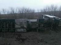На запорожской трассе бензовоз, перевозивший тонны топлива, перевернулся на бок (Фото)