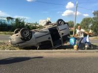 На запорожской Набережной авто перевернулось на крышу