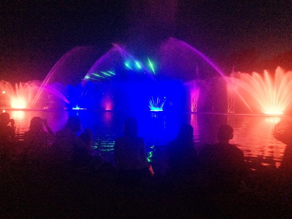 Плавучий свето-музыкальный фонтан ночью