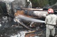 Грузовик с «Маздой» выгорели дотла: спасатели опубликовали фото с аварии на трассе под Запорожьем