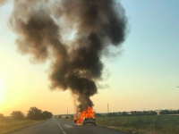 На запорожской трассе сгорел автомобиль