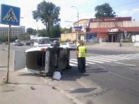 Перед плотиной ДнепроГЭС авто перевернулось на бок