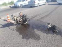 На Хортице во время ДТП у иномарки выпал двигатель с выхлопной трубой (Фото)