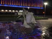 В центре Запорожья сожгли палатку протестующего