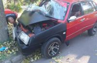 На Шевченковском водитель «Девятки» на скорости влетел в  бетонный столб
