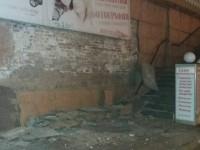 В центре Запорожья с дома обвалился фасад