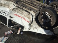 В Запорожской области авто с газетами перевернулось на крышу (Фото)