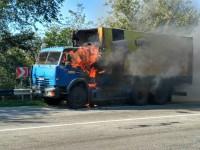 На трассе под Запорожьем загорелся грузовик (Фото)