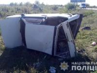 На запорожской трассе в результате ДТП перевернулась легковушка – пятеро пострадавших (Фото)