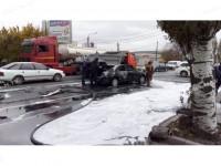 В Мелитополе на дороге в дорогой машине взорвался газовый баллон (Фото)