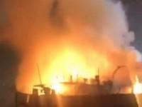 На речном вокзале в Запорожье горела баржа