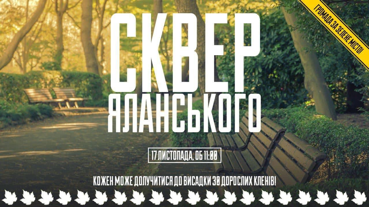 Запорожцев зовут посадить новые клены в вырубленном сквере Яланского