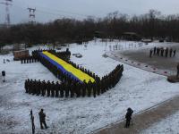 На Хортице военные создали живой якорь в поддержку пленных моряков (Фото)