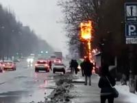 В Запорожье возле заправки сгорело информационное табло