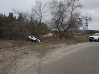 В Энергодаре перевернулась легковушка с пьяным водителем за рулём (Фото)
