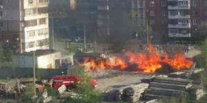 В Запорожье горел склад, на котором хранятся демонтированные памятники
